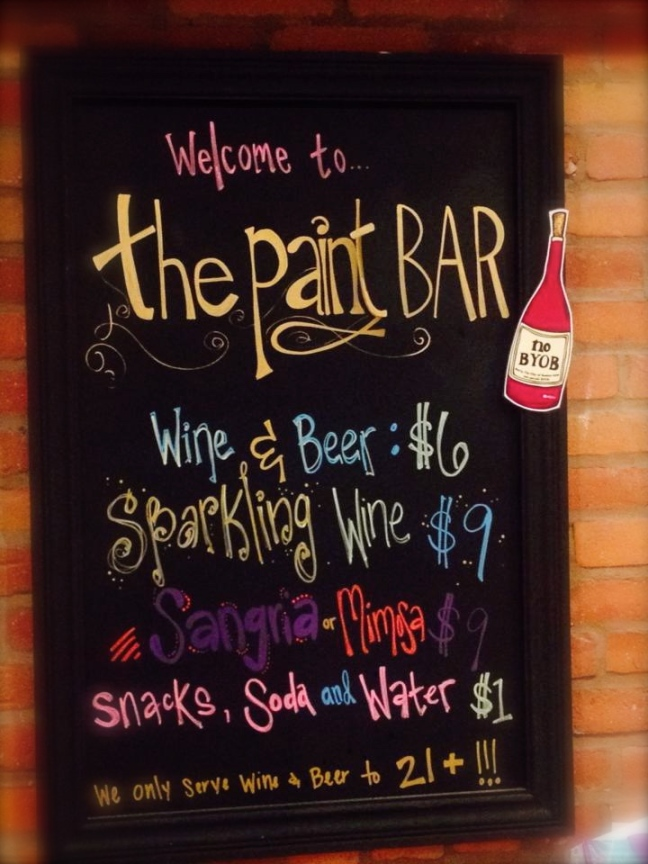 The Paint Bar - Menu